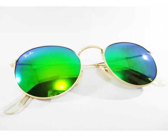 Óculos De Sol Redondo Espelhado Na Cor Verde Envio Imediato