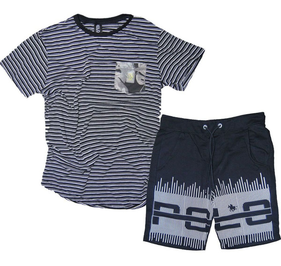 Kit Bermuda Masculina Preta E Camiseta Swag