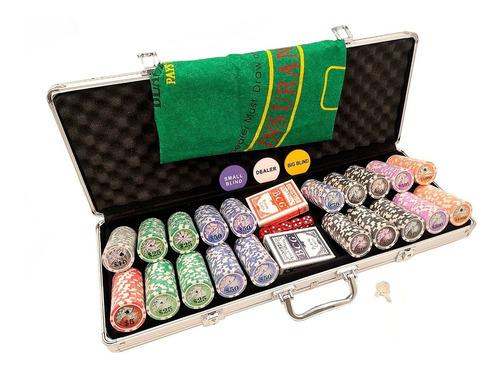 Imagem 1 de 5 de Maleta De Poker 500 Ficha Luxo Com Numeradas Kit Completo