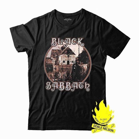 Remera Doble Nelson Hombre Black Sabbath Disco Retro Negro