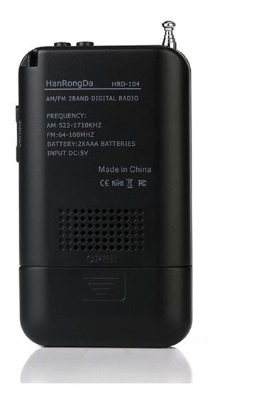 Bolso De Rádio Estéreo Portátil Am/fm Hd-104 Digital De 2 Ba