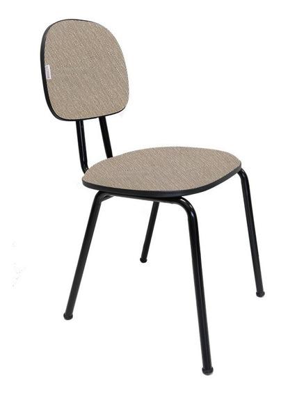Cadeira Fixa Secretária Polo Tecido J.serrano Marrom/bege