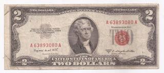 Eeuu Billete Sello Rojo 2 Dolares Año 1953 B