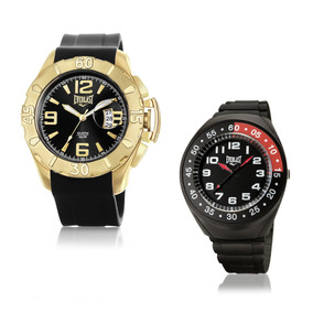 Relógio Everlast Masculino Dourado Preto Analógico E568