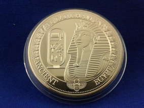 Moeda Medalha Egito Folh. A Ouro 24 K - Tutankamon - Estojo