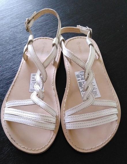 Sandalias Niñas Cheeky Cuero Blanco Talle 31 Ideal Fiestas