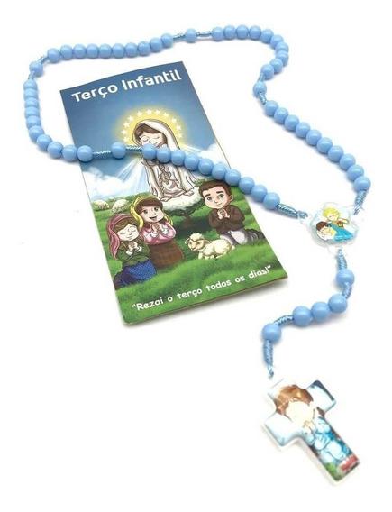 Terço Infantil Crianças Menino Com Folheto De Oração