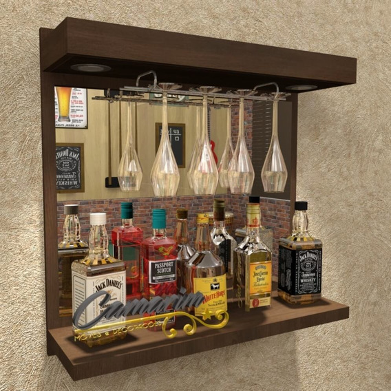 Barzinho De Parede Porta Taças E Espelho - Tabaco - Bar06