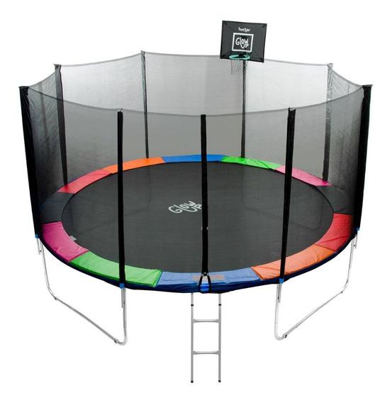 Cama Elástica Con Malla+set Basketball Glowup 4,27m 14ft