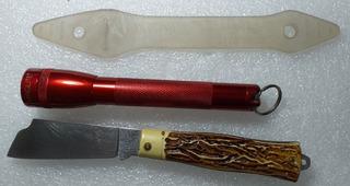 Canivete Tramontina Cabo Resina (pica Fumo) + Lanterna Maglite 2aa Com Clip Borracha Segurança