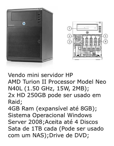 Microserver Hp Proliant Servidor 8gb Memoria  2 Hd 250gb