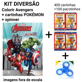 Kit Diversão Pokemon Cartinhas+spinner+colorir Thor