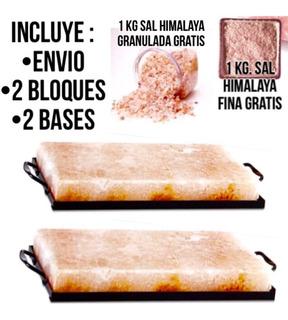 2 Bloques Sal Himalaya + 2 Bases + 2 Kg Sal + Envío Gratis