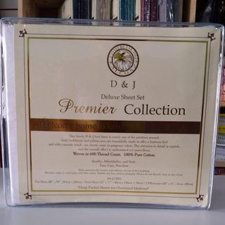 Sabana 1 1/2 Plazas Premier Collection 600hilos Algodon Puro