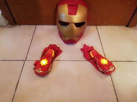 Iron Man Avengers Hasbro Guantes Y Máscara Careta De Súper H