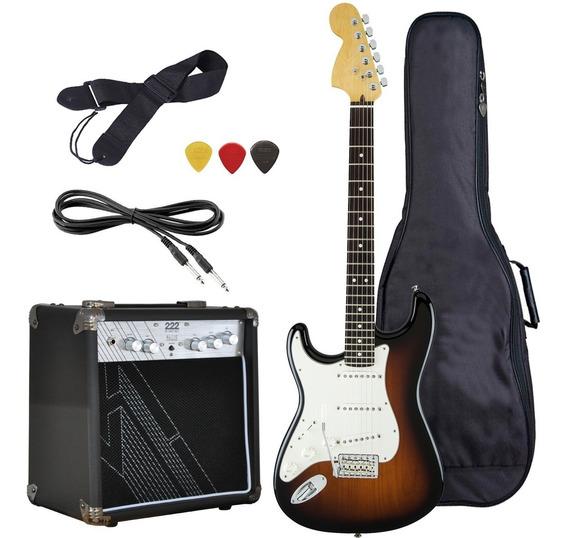Guitarra Electrica Rock Zurdo Ampli 10w Funda Cable Envio