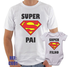 Camisa + Body Infantil Super Pai Super Filho Herói