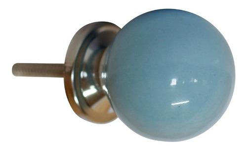 2 X Puxador Cerâmica Redondo Azul Móveis Portas Gavetas