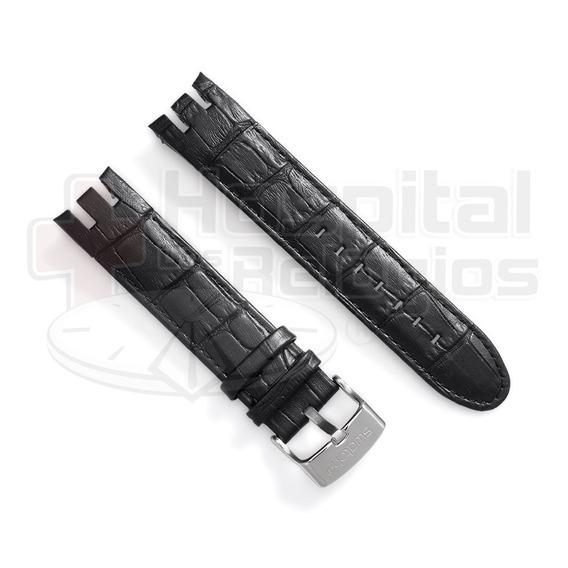 Pulseira Couro Para Swatch Retrograde Yrs413 21mm Preto