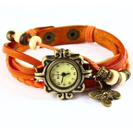 Relógio Feminino Pulseira Vintage Couro Pingente Borboleta