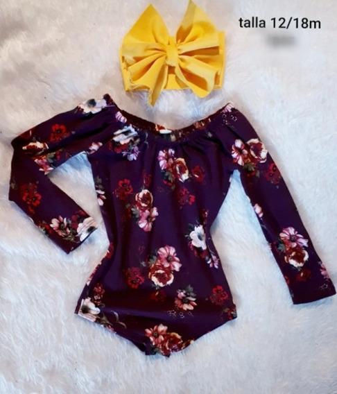Pañalero Body Tinto Floral + Diadema Amarillo Moda
