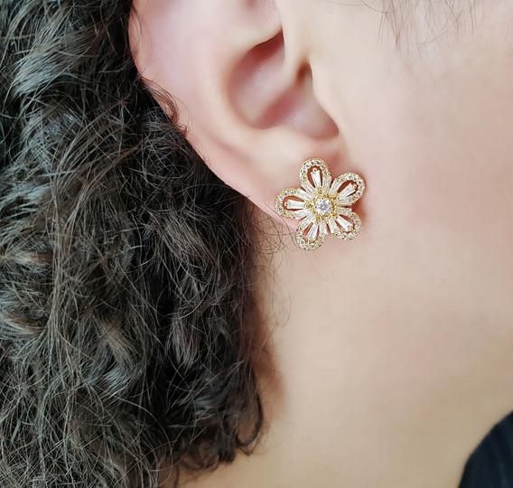 Par Brinco Feminino Brilhante Cristal Rosa Banhado Ouro 18k