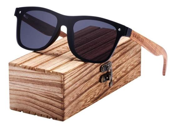 Óculos Sol Barcur Caixa De Madeira Original Uv400 Polarizad