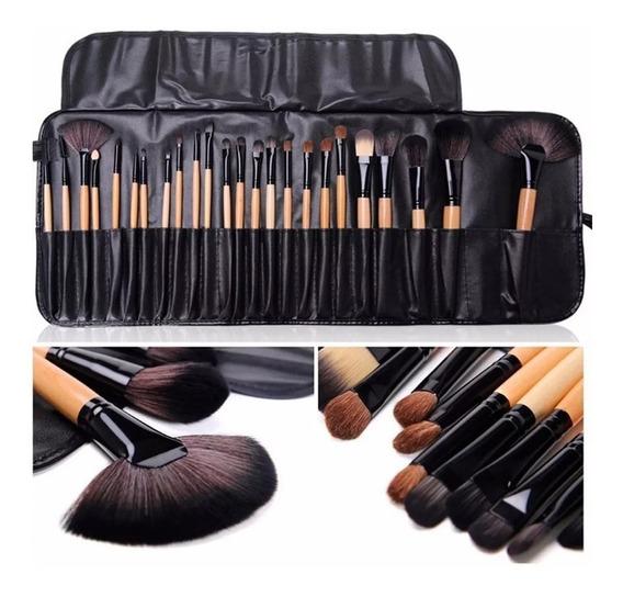 Pinceis De Maquiagem Profissioanal Kit Com 24 Peças