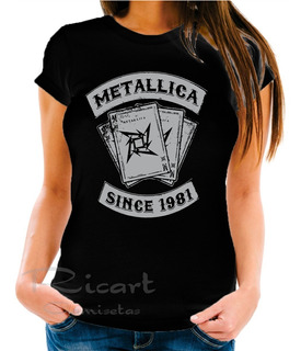 Camiseta Baby Look Metallica Since 1981 Bandas De Rock