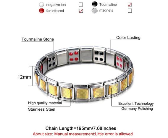 Bracelete Prata Quadrados Dourados Turmalina Infravermelho