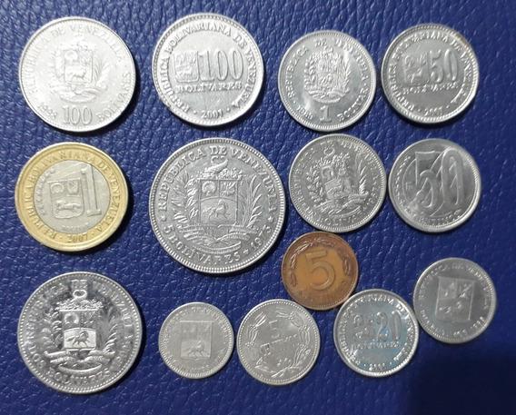 Lote X 14 Monedas Venezuela. 1 Bimetalica 1 Bolívar 2007.