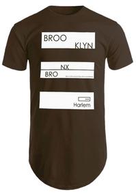 Blusa Masculina Camisa Longline Camiseta Estampada Brooklin