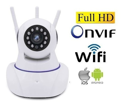 Camera Ip Wireless Sem Fio Wifi Hd 3 Antenas Sensor Noturna