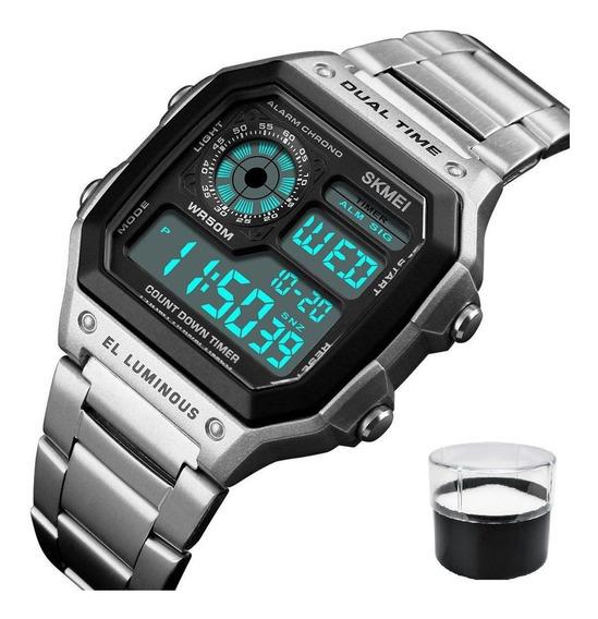 Relógio Modelo Skmei 1335 Digital Pulseira Aço Inoxidável