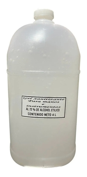 Gel Antibacterial Alcohol 72% Desinfectante Preventivo 4 L