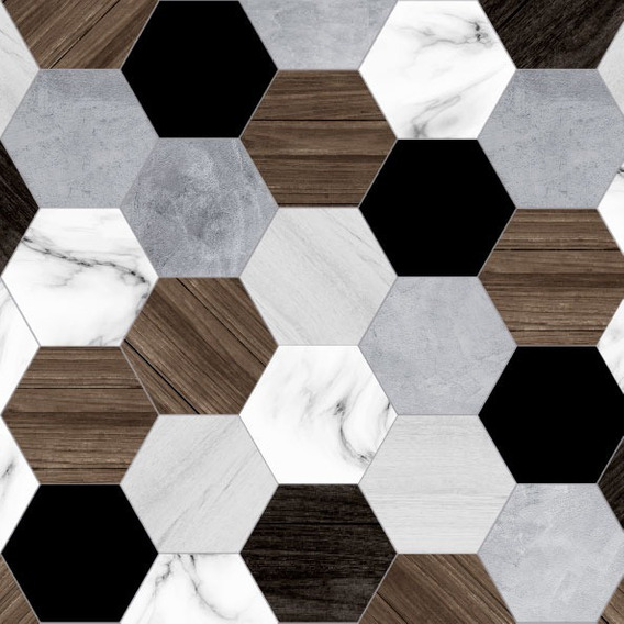 Vinilo Autoadhesivo Laminado Simil Azulejos Hexagonales Deco