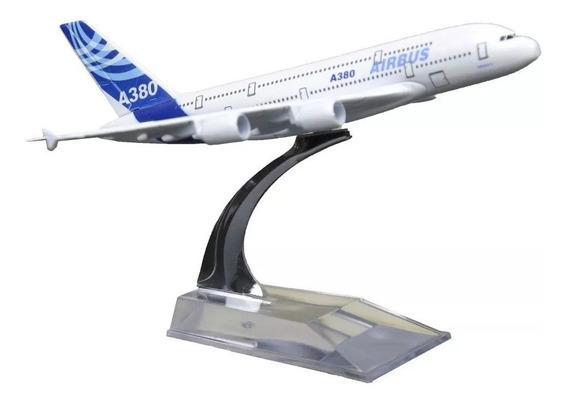Aviao Air Bus A 380 Miniatura 15cm Base Acrilica Na Caixa