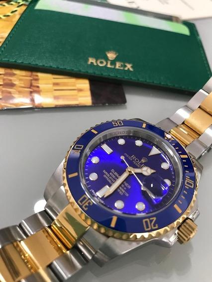 Relógio Rlx Modelo Submariner Misto Dial Azul Automático