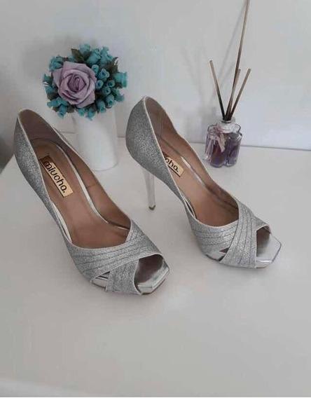 Sapato Prata Peep Toe Prata