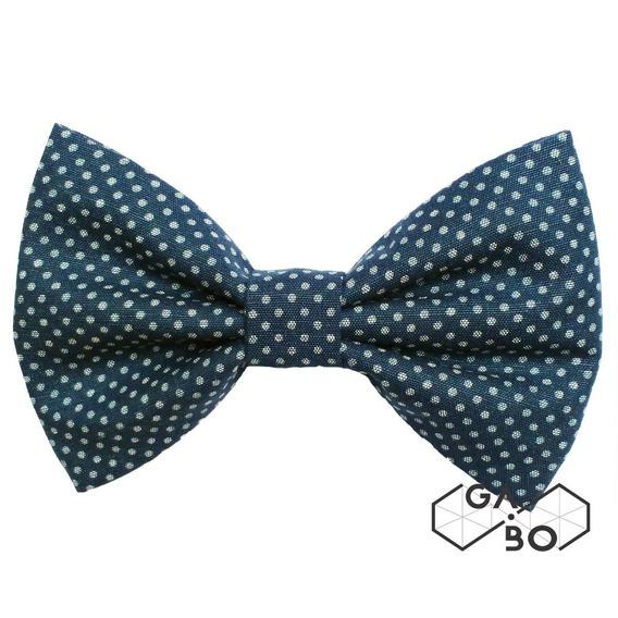 Gravata Borboleta Petit Poa Chambray Azul Marinho