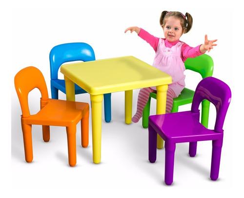 Imagen 1 de 2 de Mesa Mesita Con 4 Sillas Juego Niños Comedor Jugar Colores