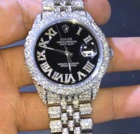 Rolex Justdate Original Cravejado Com Diamantes Vvs