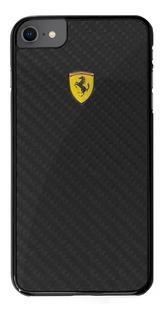 Funda Case Ferrari Fibra Carbon iPhone 7 8 Y Plus Negro