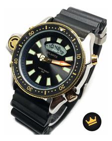 Relogio Atlantis Sport Aprova De Água Original Black De Luxo