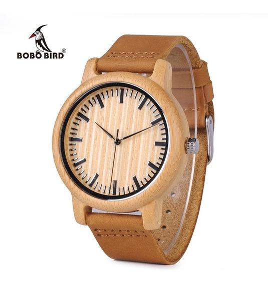 Relógio Bobo Bird Bambu Madeira Natural P. De Couro