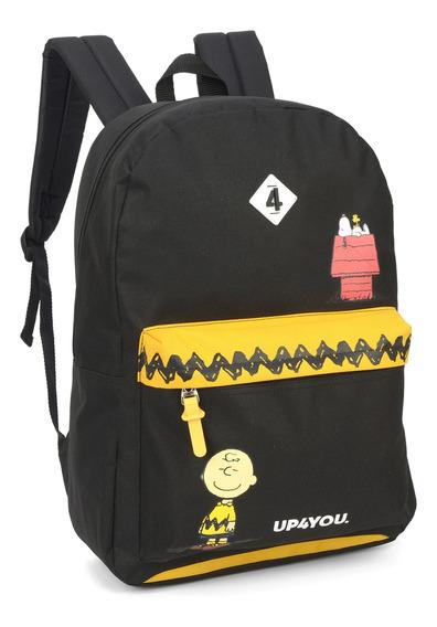 Mochila Escolar Feminina Juvenil Snoopy Luxcel 45880 Amarela