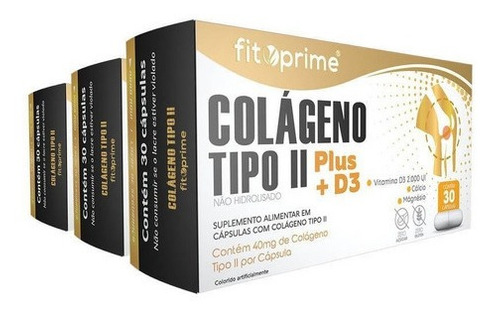 3 Caixas Colágeno Tipo 2 Plus + D3 40mg 30cps Fitoprime