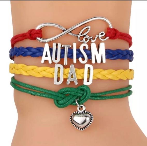 Pulseira Couro Amor Infinito Autismo Pai