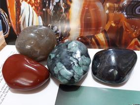 Jogo 04 Pedras Rochas Cristais Polidos Naturais Mineral 593g