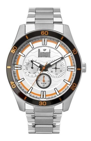Relógio Dumont Masculino Prata Detal Preto Du6p29acc3k